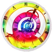 Infinite Time Rainbow 3 Round Beach Towel