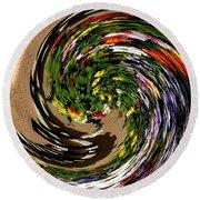 Infinity Flower Spiral 1 Round Beach Towel