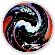 Infinity Multicultural American Flag Yin Yang 1 Round Beach Towel