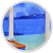 Infinity Pool At Twilight Round Beach Towel