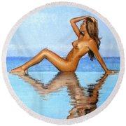 Infinity Pool Nude Round Beach Towel