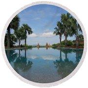 Infinity Pool Of Aureum Palace Hotel Round Beach Towel