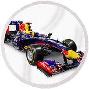 Infinity Red Bull Rb9 Formula 1 Race Car Round Beach Towel