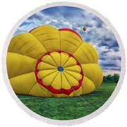 Inflating The Hot Air Balloon Round Beach Towel