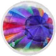Inflating The Rainbow Hot Air Balloon Photo Art Round Beach Towel