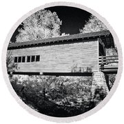 Infrared Covered Bridge Round Beach Towel