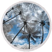Infrared Palm Trees On The Coast Round Beach Towel