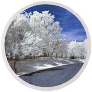 Infrared Road Round Beach Towel