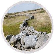 Inis Mor Fields Of Stone Round Beach Towel