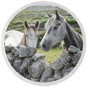 Inishmore Horses Round Beach Towel