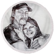 Ink Portrait Of My Father And I Round Beach Towel