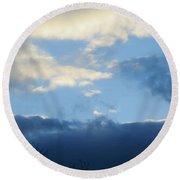 Inkblot Clouds 2 Round Beach Towel