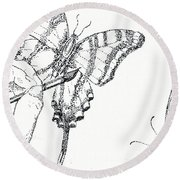 Inked Swallowtail Round Beach Towel