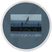 Inlet At West Cape May Nj Round Beach Towel