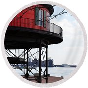 Inner Harbor Lighthouse - Baltimore Round Beach Towel