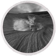 Inner Light Bw Round Beach Towel