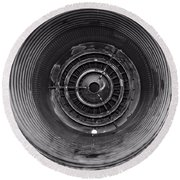 Inside A Jet Engine Black And White Round Beach Towel