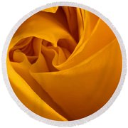 Inside A Yellow Rose Round Beach Towel
