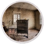 Inside Abandoned House Photos - Old Room - Life Long Gone Round Beach Towel