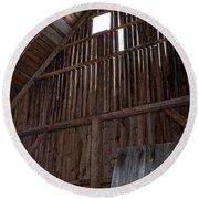 Inside An Old Barn Round Beach Towel