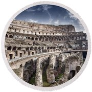 Inside Colosseum Round Beach Towel