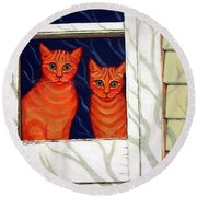 Orange Cats Looking Out Window Round Beach Towel