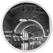 Inside Los Angeles Union Station In Black And White Round Beach Towel