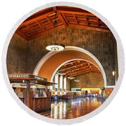 Inside Los Angeles Union Station Round Beach Towel