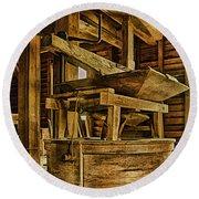 Inside Mingus Grist Mill Round Beach Towel
