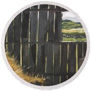 Barn -inside Looking Out - Summer Round Beach Towel