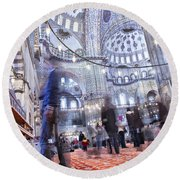 Inside The Blue Mosque Round Beach Towel
