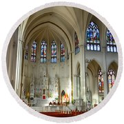 Inside The Cathedral Basilica Of The Immaculate Conception 1 Round Beach Towel