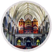 Inside The Cathedral  Round Beach Towel