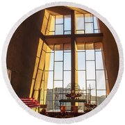 Inside The Chapel Of The Holy Cross Round Beach Towel
