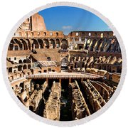 Inside The Colosseum Round Beach Towel