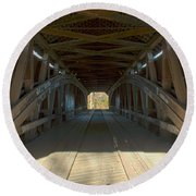 Inside The Cox Ford Covered Bridge Round Beach Towel