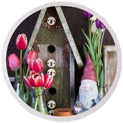 Inside The Garden Shed Round Beach Towel