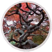 Inside The Japanese Maple Round Beach Towel