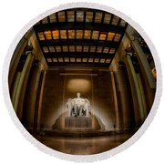 Inside The Lincoln Memorial Round Beach Towel