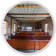 Inside The Little Church - World Mining Museum Round Beach Towel