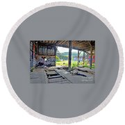 Inside The Old Train Roundhouse At Bayshore Near San Francisco And The Cow Palace Iv Round Beach Towel