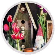 Inside The Potting Shed Round Beach Towel