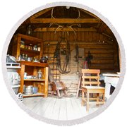 Inside The Real Sam Mcgee's Cabin In Macbride Museum In Whitehorse-yk Round Beach Towel
