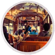 Inside The St. Charles Ave Streetcar New Orleans Round Beach Towel