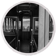 Inside Trolley 28 Black And White Round Beach Towel
