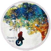 Inspirational Art - You Can Do It - Sharon Cummings Round Beach Towel