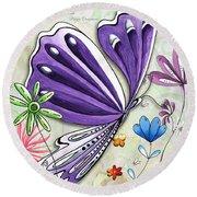 Inspirational Butterfly Flower Art Inspiring Quote Design By Megan Duncanson Round Beach Towel