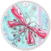 Inspirational Dragonfly Floral Fleur De Lis Art Sweet Charity By Megan Duncanson Round Beach Towel