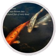 Inspirational - Gathering Fish Of Every Kind - Matthew 13-47 Round Beach Towel by Mike Savad