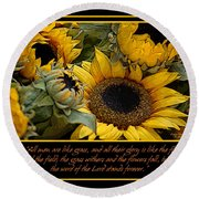 Inspirational Sunflowers Round Beach Towel